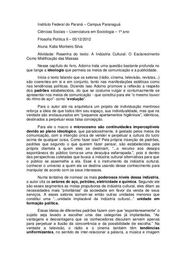 Instituto Federal do Paraná – Campus ParanaguáCiências Sociais – Licenciatura em Sociologia – 1º anoFilosofia Política II ...