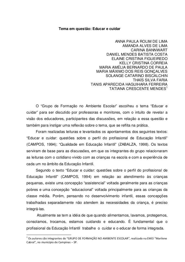 Tema em questão: Educar e cuidar                                                        ANNA PAULA ROLIM DE LIMA          ...