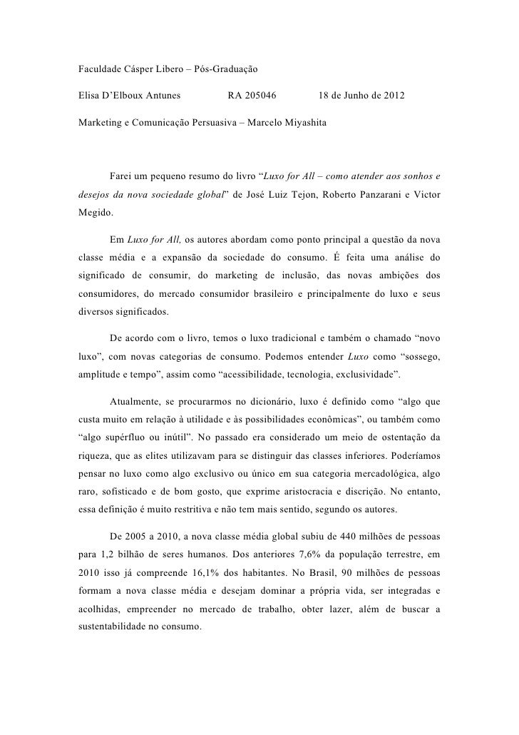 Faculdade Cásper Libero – Pós-GraduaçãoElisa D'Elboux Antunes              RA 205046            18 de Junho de 2012Marketi...