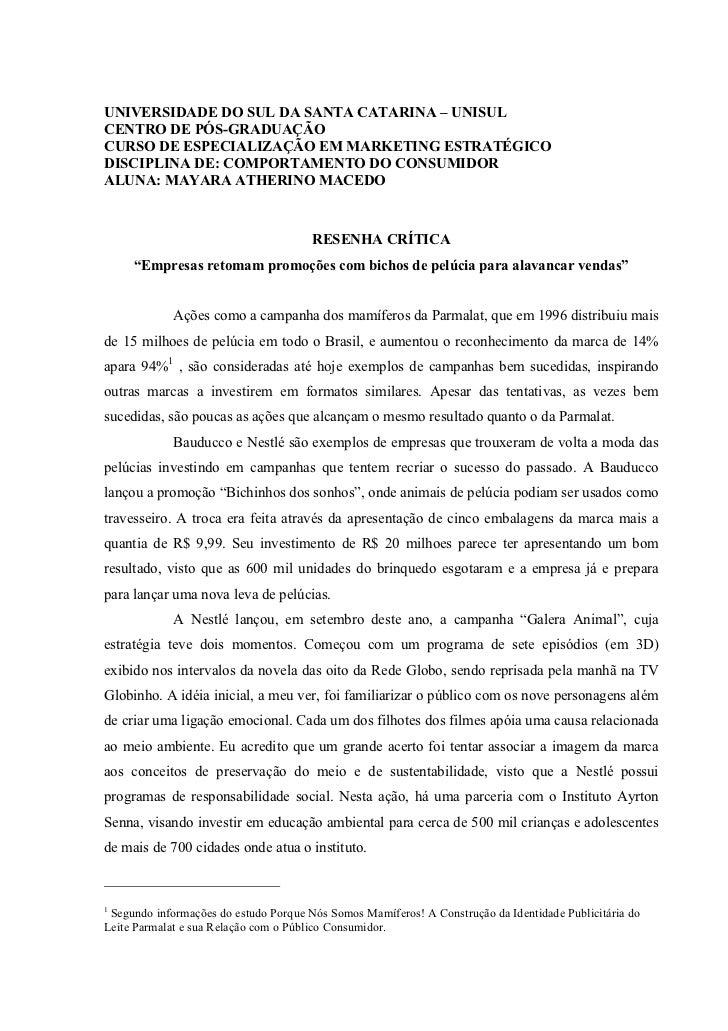 UNIVERSIDADE DO SUL DA SANTA CATARINA – UNISULCENTRO DE PÓS-GRADUAÇÃOCURSO DE ESPECIALIZAÇÃO EM MARKETING ESTRATÉGICODISCI...