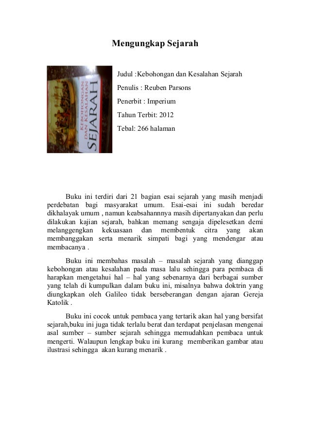 Resensi Buku Kebohongan Dan Kesalahan Sejarah