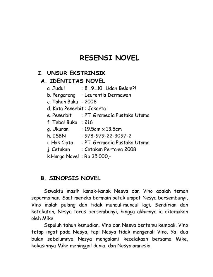 Resensi Novel 8 9 10