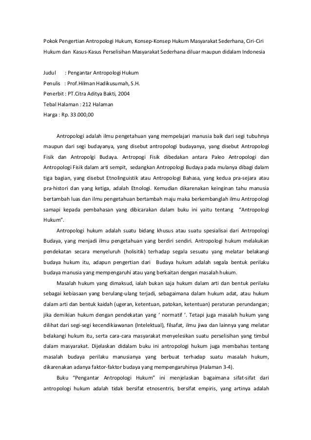Resensi Pengantar Antropologi Hukum