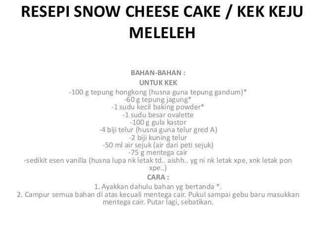 Resepi snow cheese cake