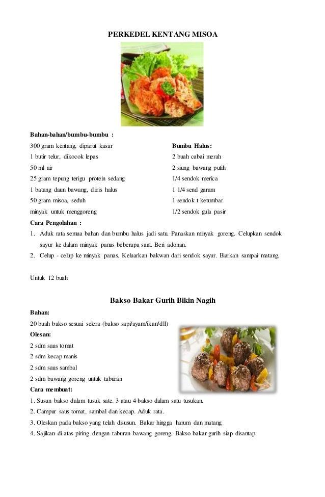 Gambar Resep Makanan Dalam Bahasa Inggris