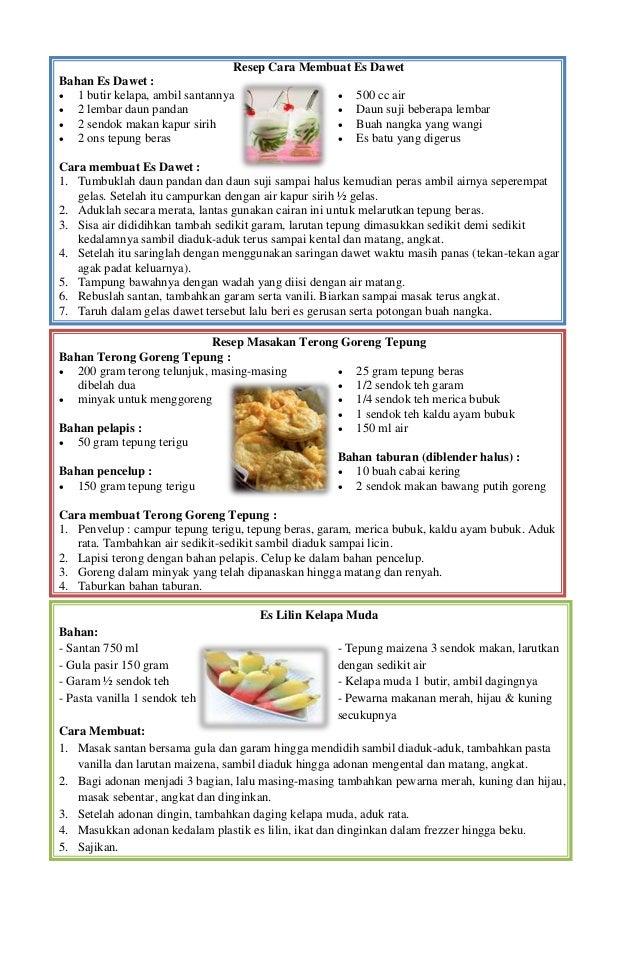 Resep Makanan Dan Minuman Bahasa Inggris Resep Minuman