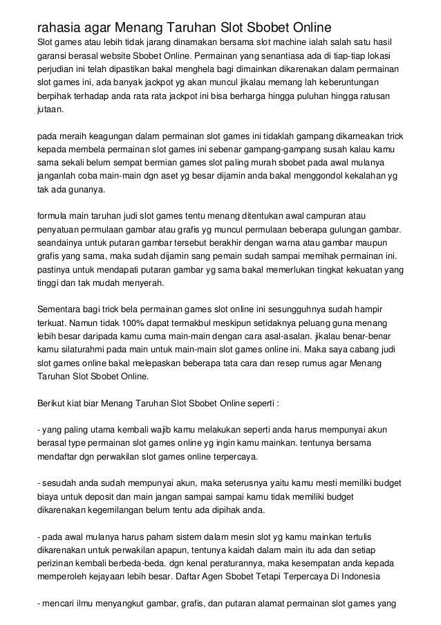 Rahasia Agar Menang Taruhan Slot Sbobet Online