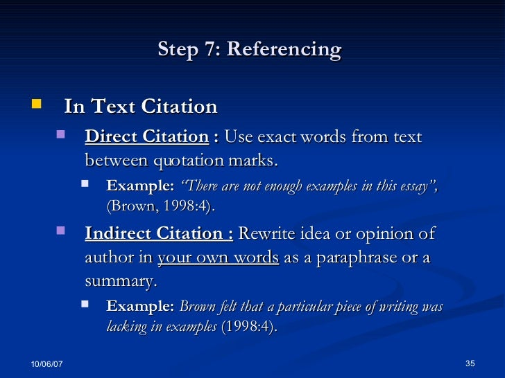 referencing a dictionary definition in an essay Commands and orders the imperative is used to give commands and orders the form of the verb used for the imperative is the base form of the main verb, which is used without a subject.