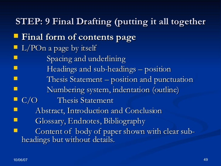 Thesis numbering system