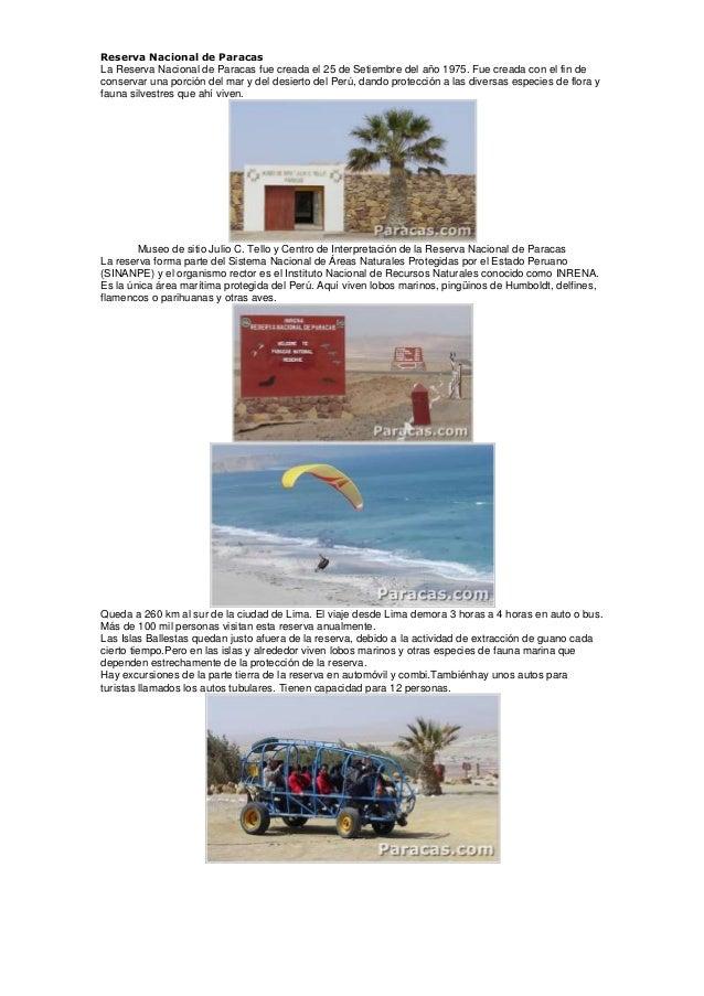 Reserva Nacional de Paracas La Reserva Nacional de Paracas fue creada el 25 de Setiembre del año 1975. Fue creada con el f...