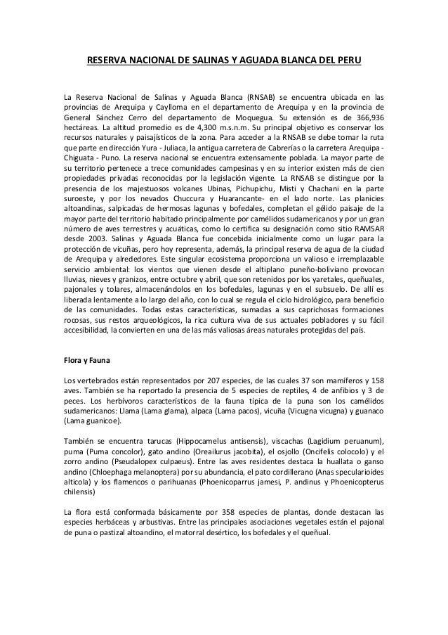 RESERVA NACIONAL DE SALINAS Y AGUADA BLANCA DEL PERU La Reserva Nacional de Salinas y Aguada Blanca (RNSAB) se encuentra u...