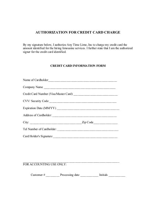 Credit Card Form. Sample Credit Card Authorization Form Credit