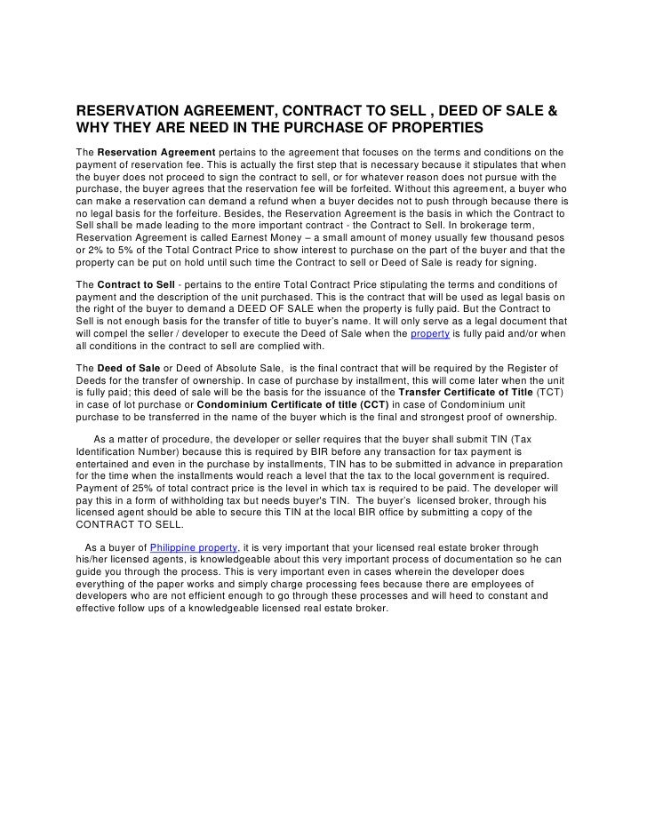 RESERVATION AGREEMENT, CONTRACT TO SELL , DEED OF SALE & WHY THEY ARE NEED IN THE PURCHASE OF PROPERTIES<br />TheReservat...