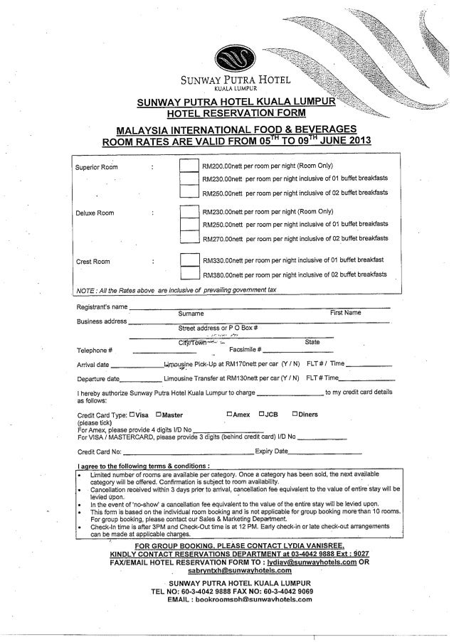 HOTEL RESERVATION FORM: Malaysia International Food & Beverages (5-9 …