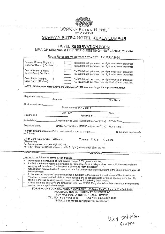 Hotel Reservation Form  Mma Gp Seminar  Scientific Meeting  J