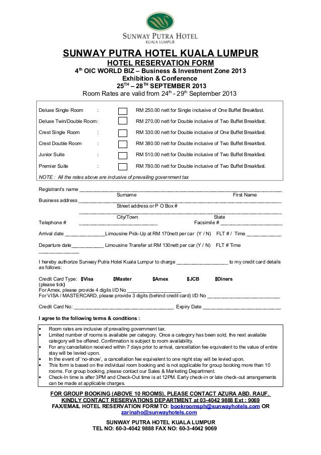 Hotel Reservation Form: 4Th Oic World Biz – Business & Investment Zon…