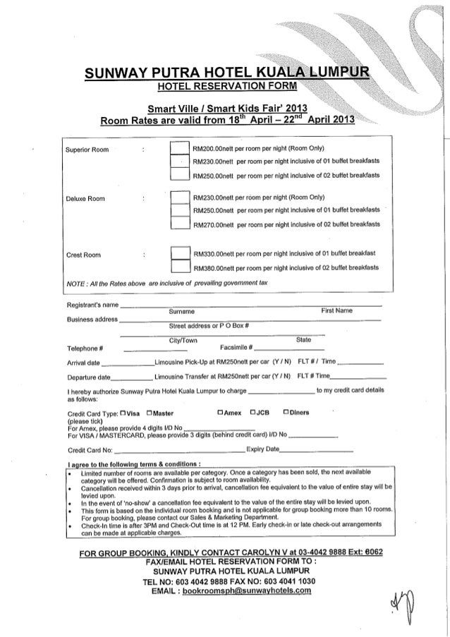 Hotel Reservation Form Smart Kids     Apr  Sunway Pu
