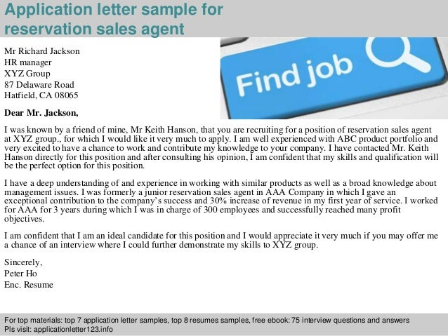 Reservation sales agent application letter 2 application letter sample for reservation spiritdancerdesigns Gallery