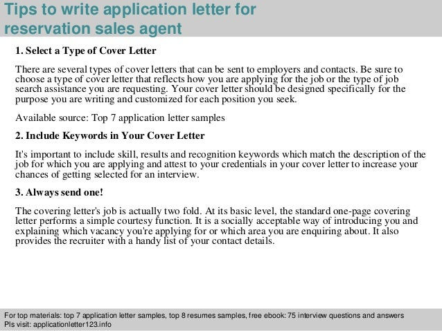 Reservation sales agent application letter