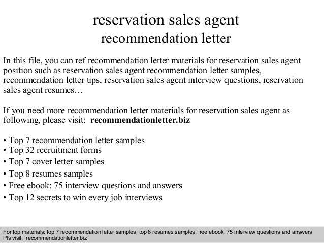 Reservation Sales Agent Recommendation Letter In This File, You Can Ref  Recommendation Letter Materials For ...