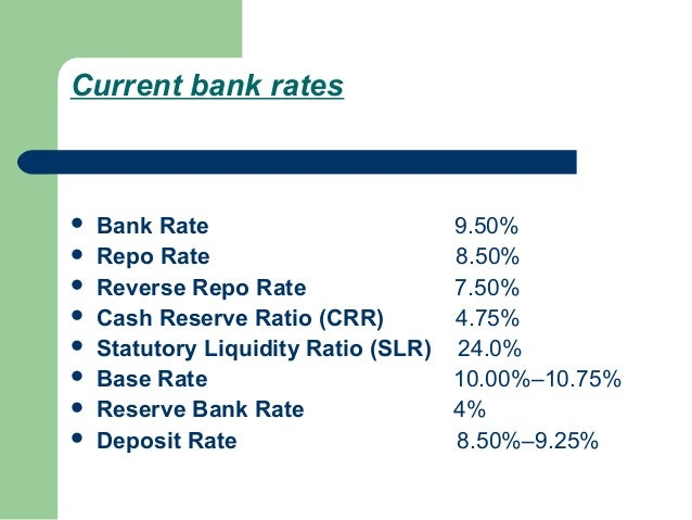 Current bank rates   Bank Rate                       9.50%   Repo Rate                       8.50%   Reverse Repo Rate ...