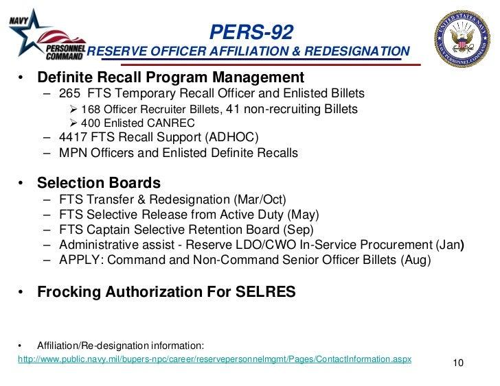 PERS-92                RESERVE OFFICER AFFILIATION & REDESIGNATION• Definite Recall Program Management      – 265 FTS Temp...