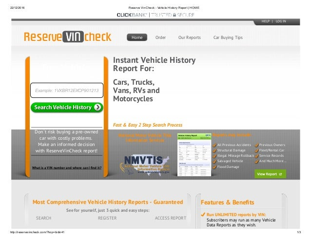 Check Vin Online >> Reserve Vin Check Vehicle History Report Home
