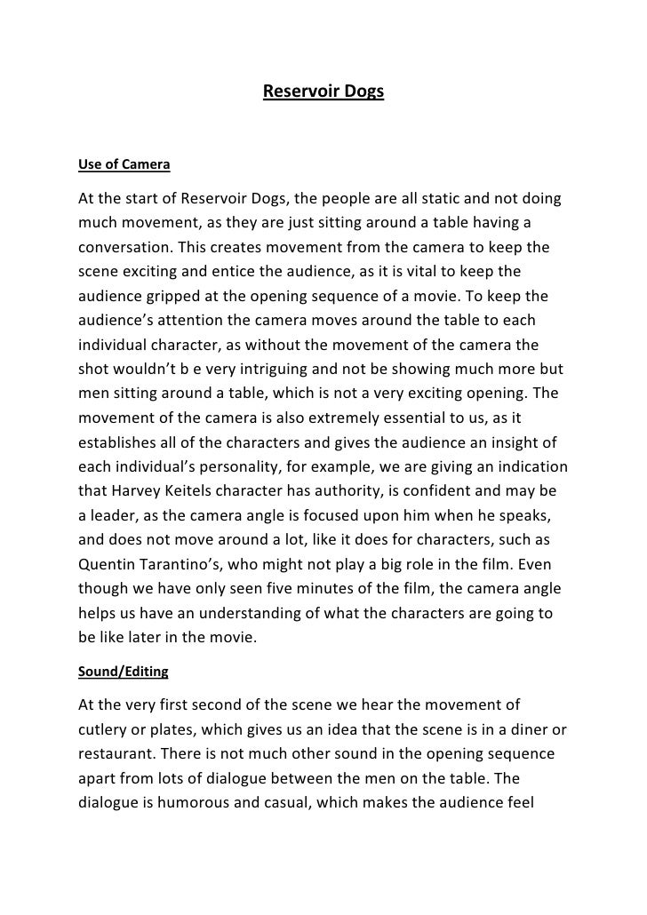 Reservoir Dogs Opening Sequence Essay