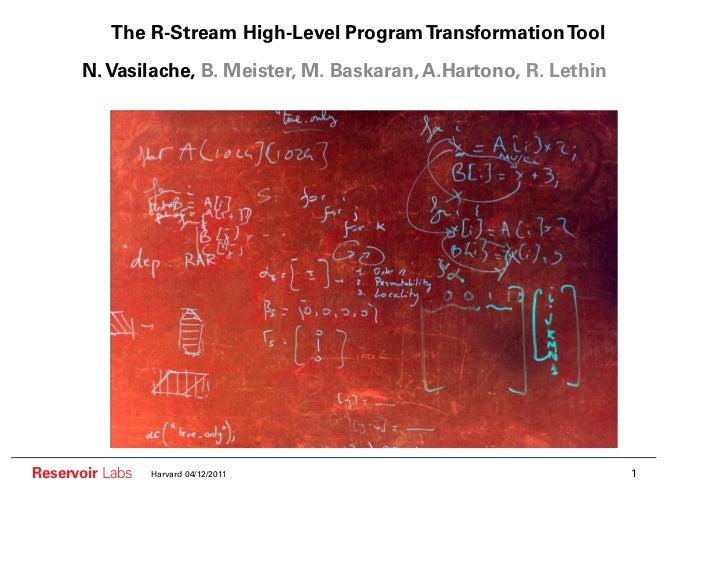 The R-Stream High-Level Program Transformation Tool      N. Vasilache, B. Meister, M. Baskaran, A.Hartono, R. LethinReserv...