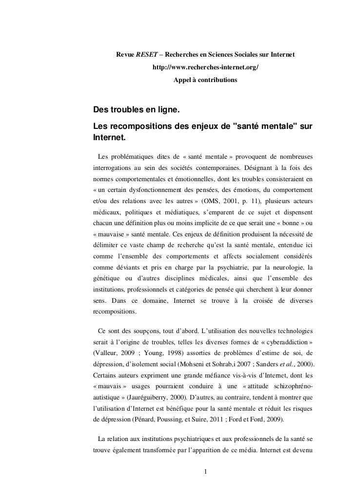 Revue RESET – Recherches en Sciences Sociales sur Internet                      http://www.recherches-internet.org/       ...