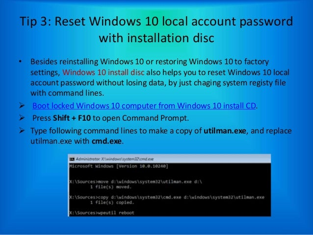 Reset login password windows 10 -several ways to help
