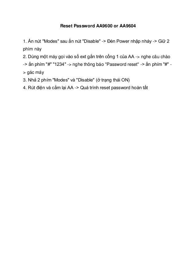 Hướng dẫn cách rest password cho thiết bị DSG AA9600