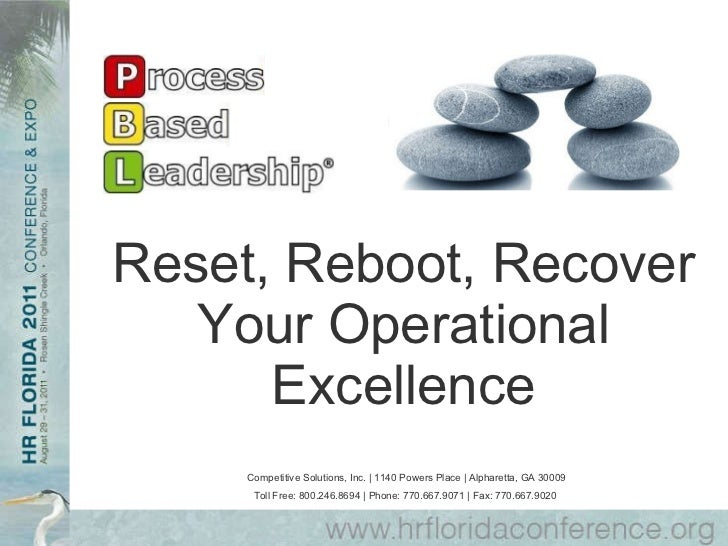 Reset, Reboot, Recover Your Operational Excellence Competitive Solutions, Inc. | 1140 Powers Place | Alpharetta, GA 30009 ...