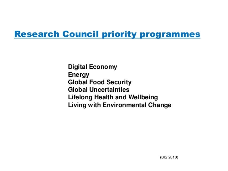 Research Council priority programmes          Digital Economy          Energy          Global Food Security          Globa...