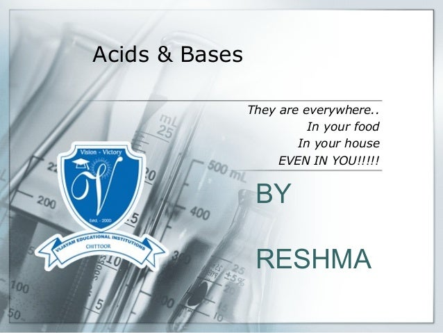 Acids & Bases They are everywhere.. In your food In your house EVEN IN YOU!!!!! BY RESHMA