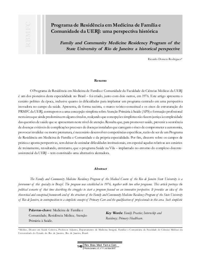 Programa de Residência em Medicina de Família e Comunidade da UERJ: uma perspectiva histórica Family and Community Medicin...