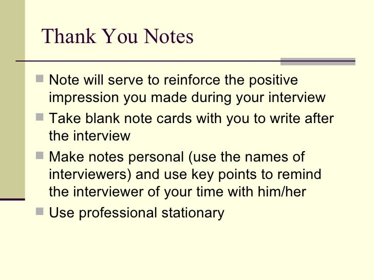 interview thank you notes samples