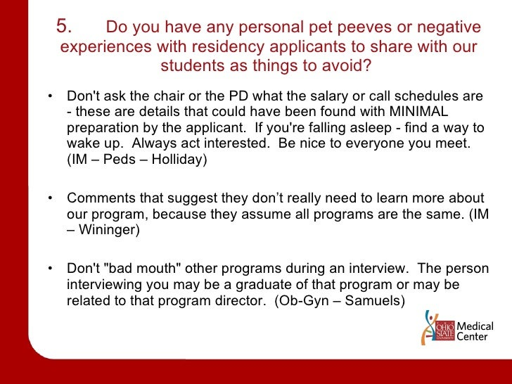Residency Interview Advice