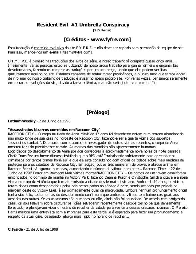 Resident Evil #1 Umbrella Conspiracy [S.D. Perry] [Créditos - www.fyfre.com] Esta tradução é conteúdo exclusivo do site F....