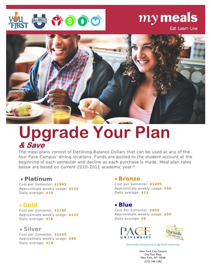 Upgrade Your Plan& SaveThe meal plans consist of Declining Balance Dollars that can be used at any of thefour Pace Campus...