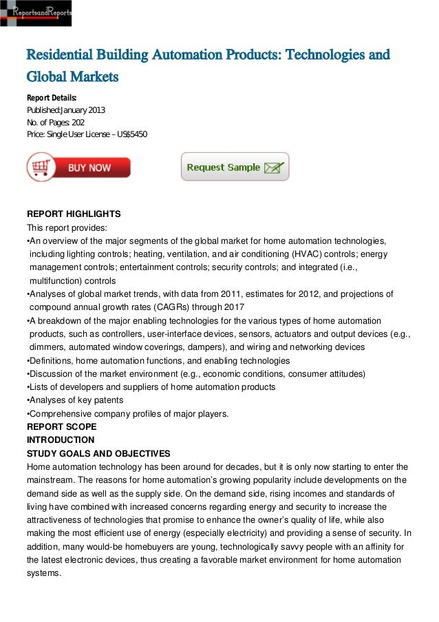 Residential Building Automation Products: Technologies andGlobal MarketsReport Details:Published:January 2013No. of Pages:...