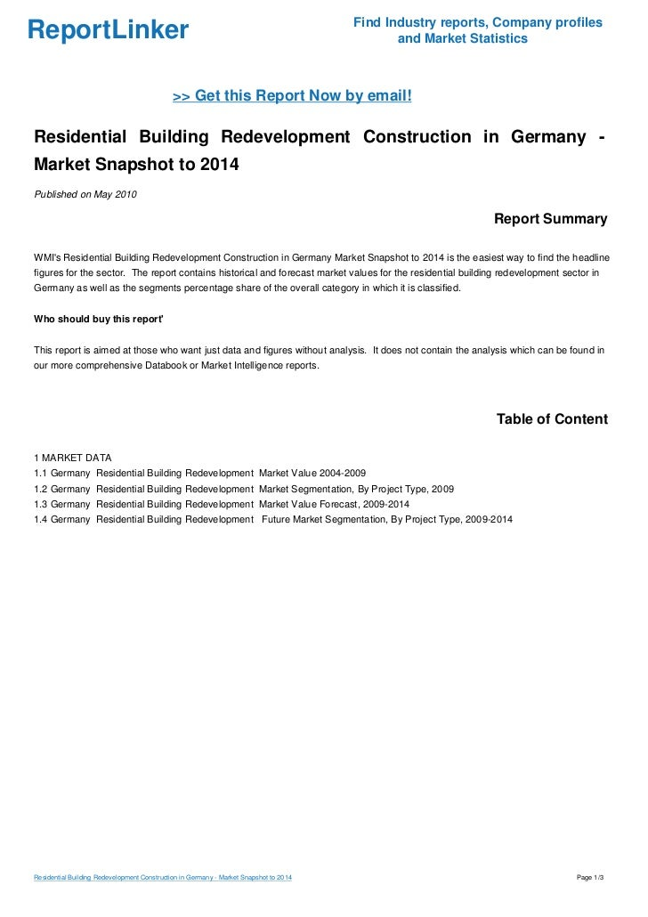 Residential Building Redevelopment Construction in Germany - Market Snapshot to 2014