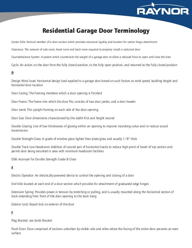 Raynor's Glossary of Residential Garage Door Terminology