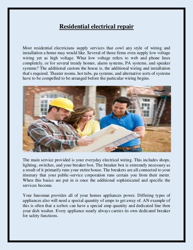 Residential electrical repair