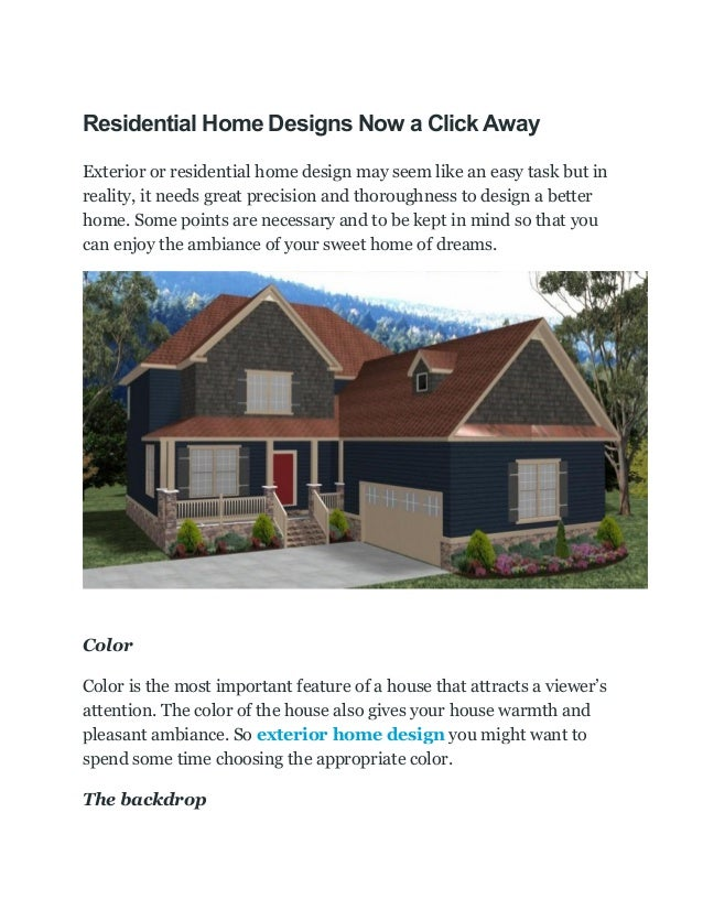 Residential Home Designs Now A Click Away Exterior Or Residential Home  Design May Seem Like An ...