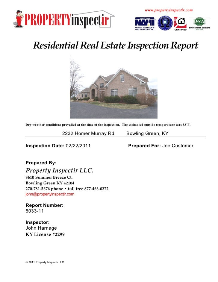 Residential home inspection sample report – Home Inspection Report Template