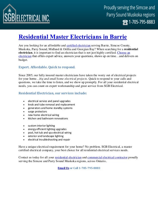 Astounding Residential Master Electrician Residential Electrical Contractor Wiring Digital Resources Counpmognl