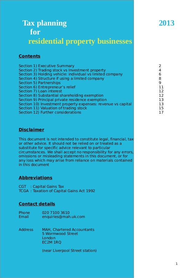 Residential property tax planning (UK) Slide 2