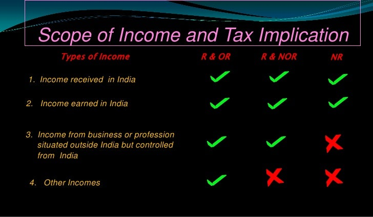 Scope of Income and Tax Implication<br />Types of Income<br />R & OR<br />R & NOR<br />NR<br />Income received  in India<b...