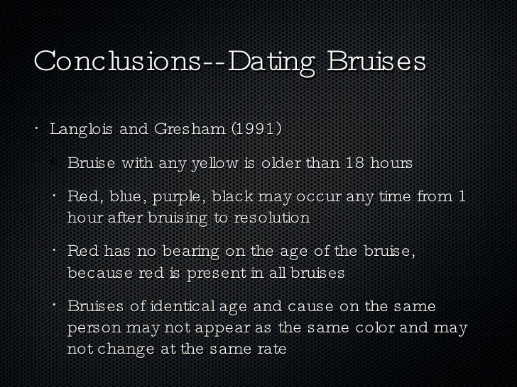 Bruise age dating chart for guys